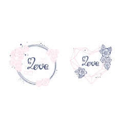 floral art love sign with hand drawn elements vector image