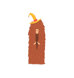 Freak man character in funny hairy brown costume vector