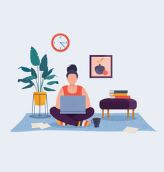 freelancer woman working at home on laptop vector image