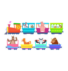 Funny cartoon animals rides in cartoon trains vector