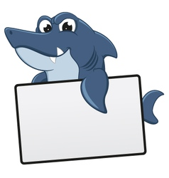 Funny Shark Cartoon With Blank Sign vector