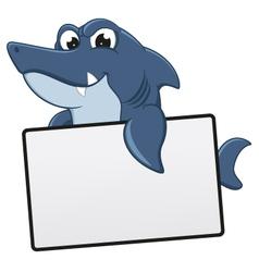 Funny shark cartoon with blank sign vector