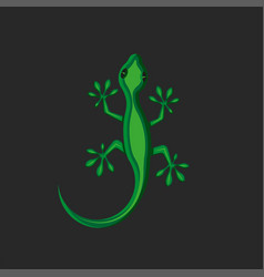gecko logo green lizard creative animal isolated vector image