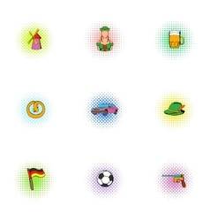 Germany icons set pop-art style vector