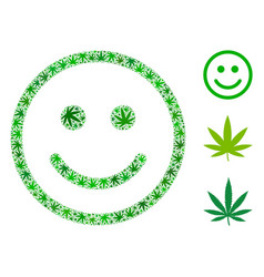 glad smiley mosaic of cannabis vector image