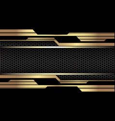 Gold black geometric cyber dark grey hexagon mesh vector