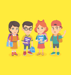 Group of school students with backpacks and books vector