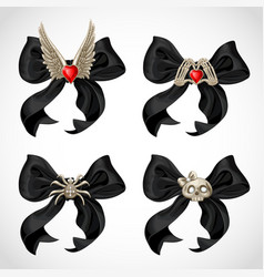 Halloween witch adornment black bow with fun vector