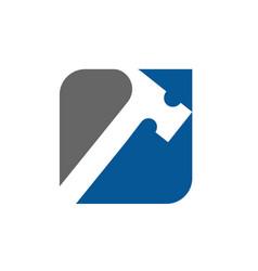 Hammer logo icon design vector
