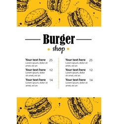 Hand drawn burger menu Vintage hand drawn vector