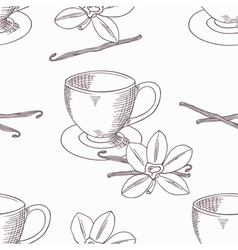 Hand drawn coffee cup with vanilla seamless vector image