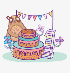 happy bear birthday one year with cake vector image