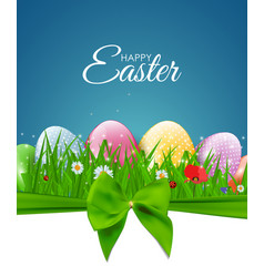 happy easter natural background with eggs grass vector image