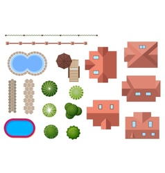 Home landscape and property elements vector
