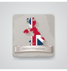 Icon of United Kingdom map with flag vector image