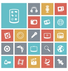 Icons tile technology entertainment vector