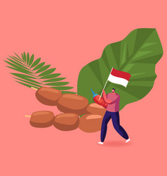 Indonesian cuisine concept positive man carry vector