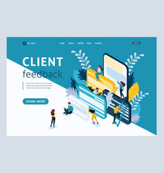 Isometric landing page for business solutions vector
