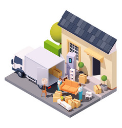 Isometric movers at house relocation vector