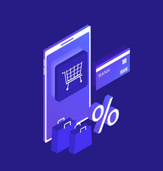isometric smart phone online shopping concept vector image