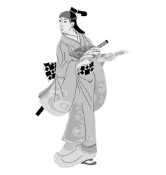 Japanese woman in national dress vector