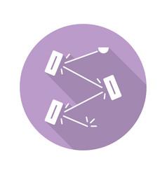 Laser physics violet flat design long shadow vector