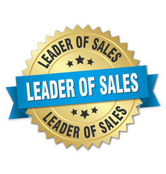 Leader of sales 3d gold badge with blue ribbon vector