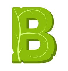 Letter b green leaves summer alphabet vector