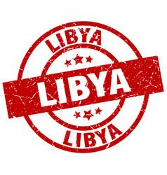 libya red round grunge stamp vector image