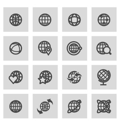 Line globe icons set vector
