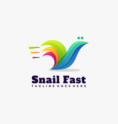 Logo snail fast gradient colorful style vector