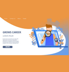 Man character search career growth opportunity vector
