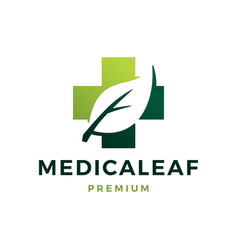 medical leaf health herbal logo icon vector image
