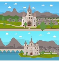 Medieval Ancient Temples Horizontal Compositions vector