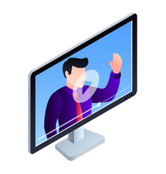 monitor online webinar icon isometric style vector image