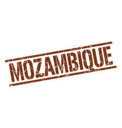 Mozambique brown square stamp vector