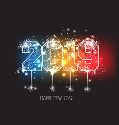 New years 2019 polygonal line and fireworks vector