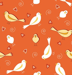 Orange tones with white birds seamless pattern vector image