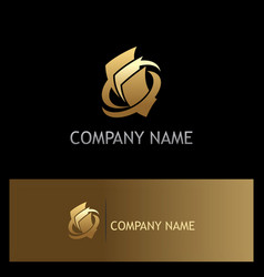 paper document gold business logo vector image