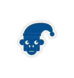 Paper sticker on white background monkey cap vector