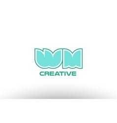Pastel green alphabet letter wm w m combination vector