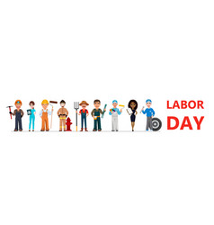 people of different occupations celebrate labor vector image
