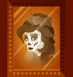 Photo of young woman with catrina makeup vector