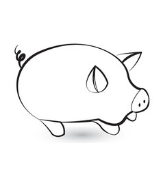 pig pork black silhouette stylized icon vector image