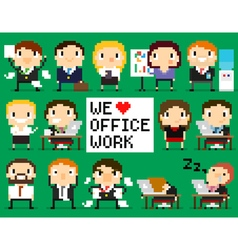 Pixel Office People vector