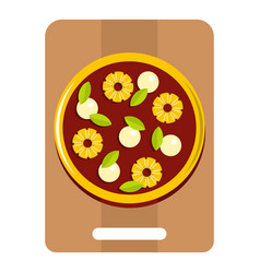 pizza with ingredients on the wooden board icon vector image