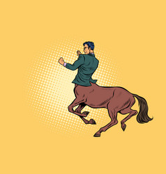 pop art businessman centaur ready to fight vector image