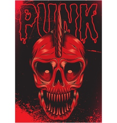 poster with a red skull for punk rock vector image