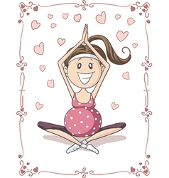 pregnant yoga cartoon vector image