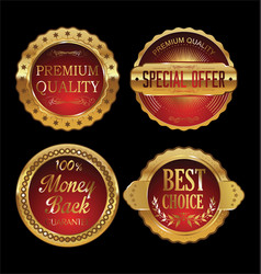 quality retro golden badges collection 3 vector image